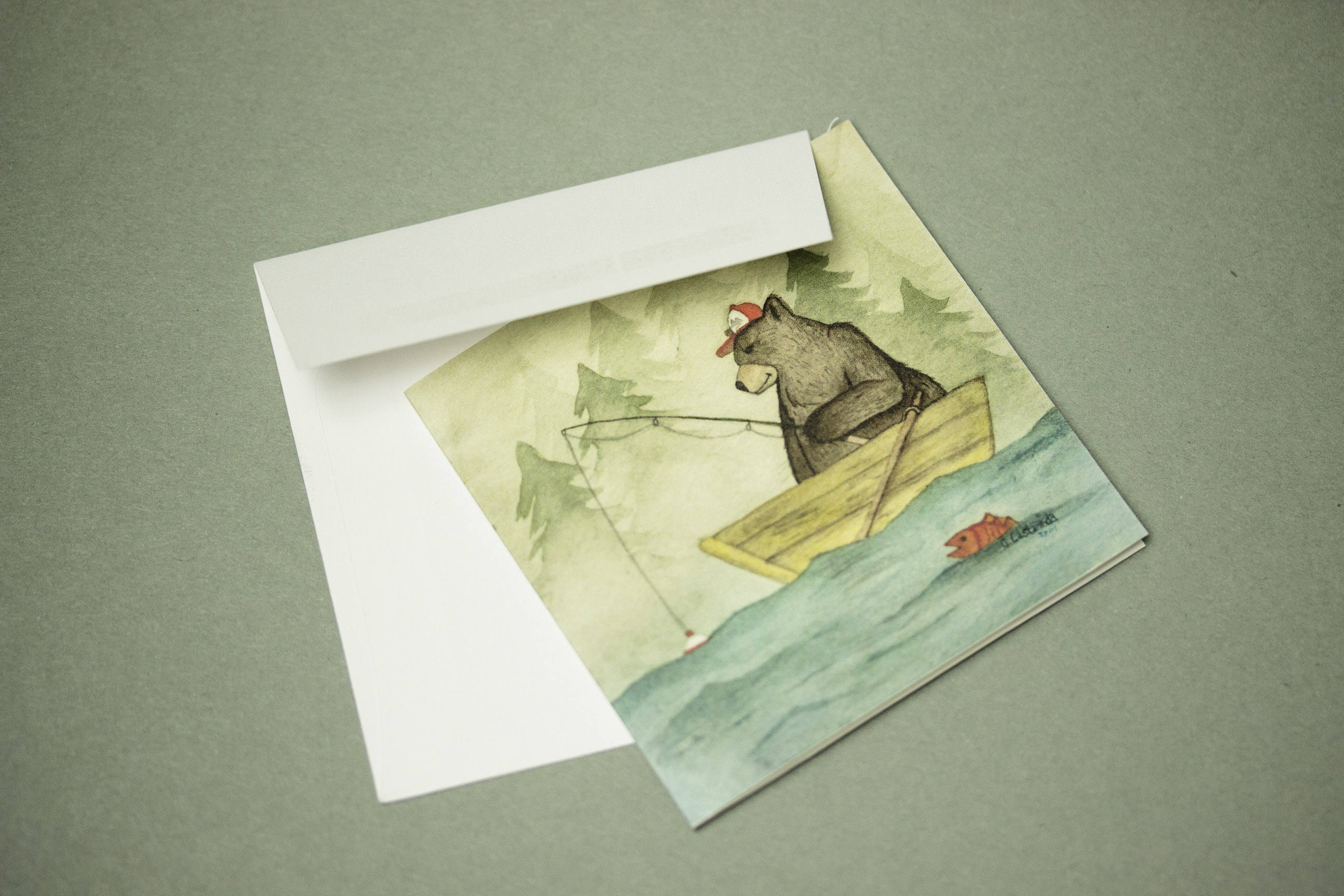 Bear greeting card mini greeting card thank you cards lou moss bear greeting card mini greeting card thank you cards kristyandbryce Gallery