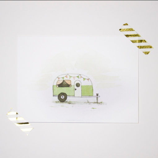 Camper art print, Wall art, Woodland nursery, Art print