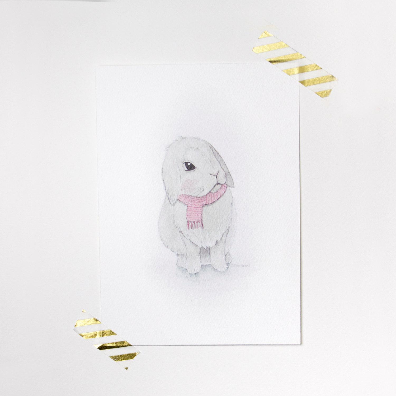 Cute Bunny Art Print Nursery Decor Wall