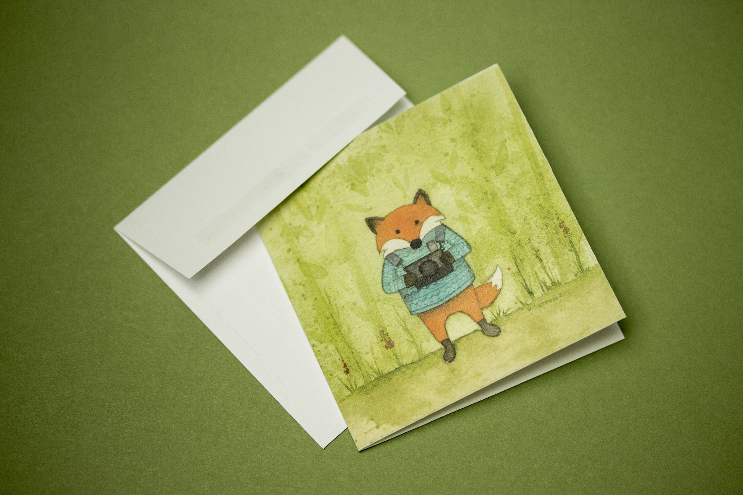 fox greeting card mini greeting card thank you cards lou moss