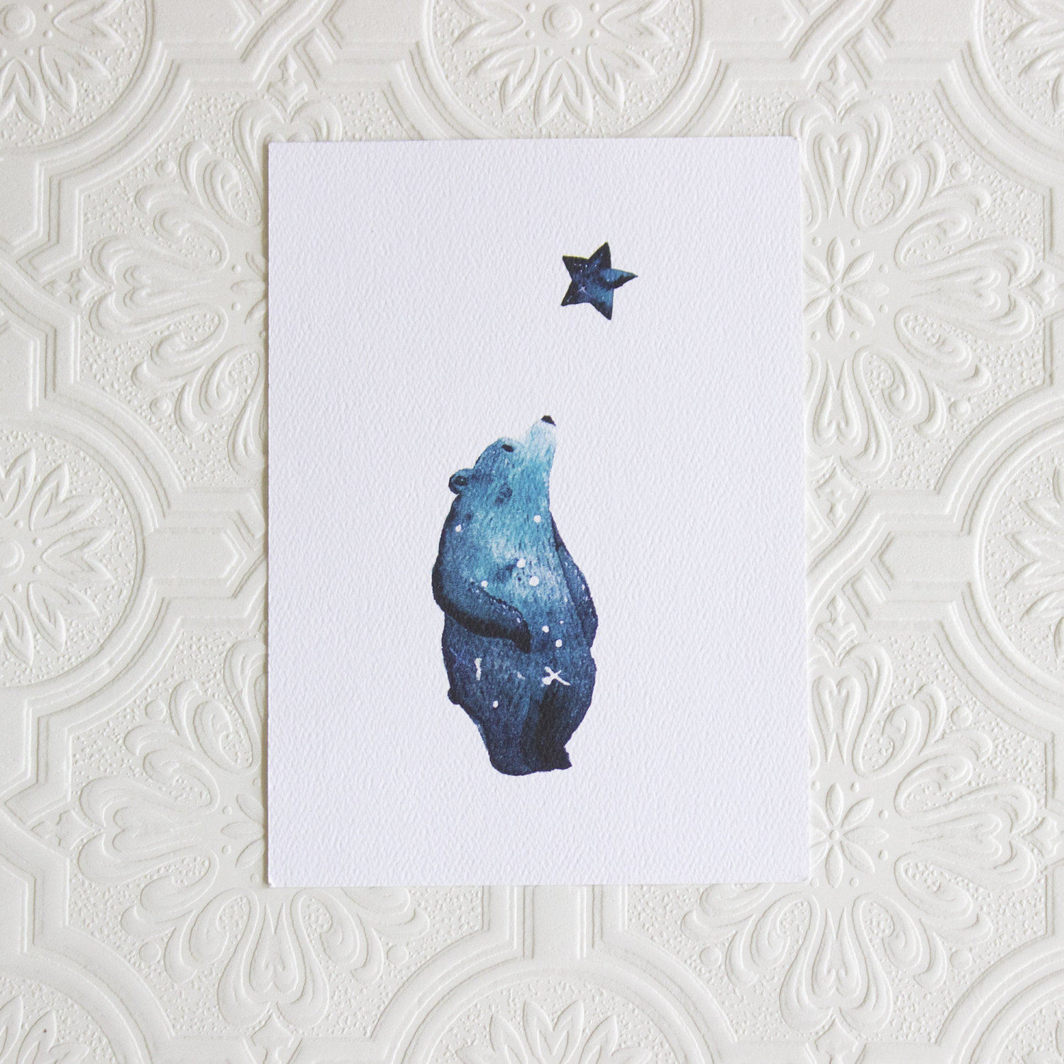 galaxy bear art print nursery wall art woodland nursery lou moss