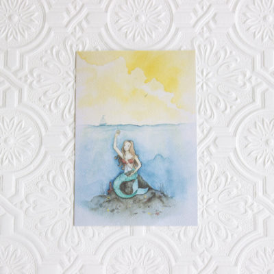 Mermaid art print, Sea life art, Nautical art, Nursery wall art, Nursery decor