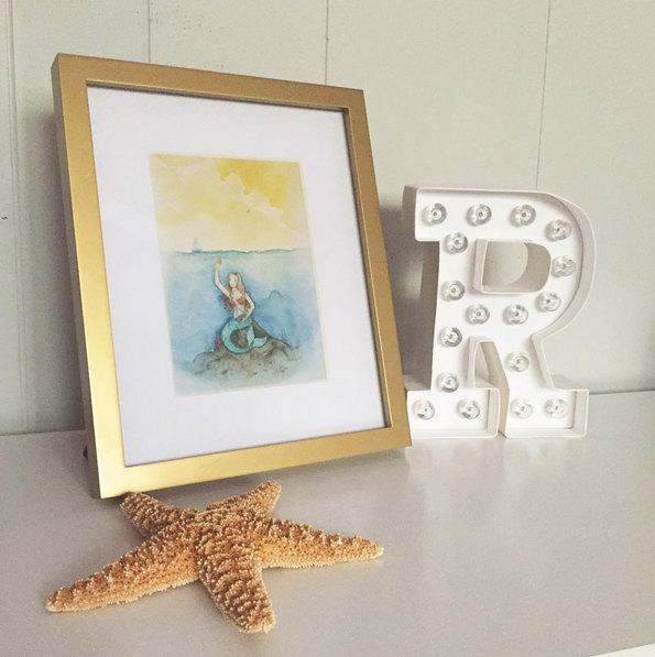 Mermaid Art Print Sea Life Nautical Nursery Wall