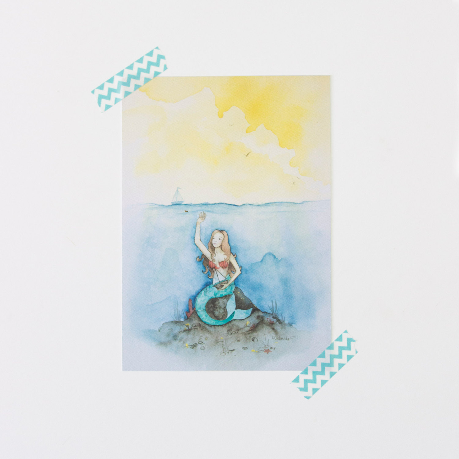 Mermaid Art Print Sea Life Nautical Nursery Wall