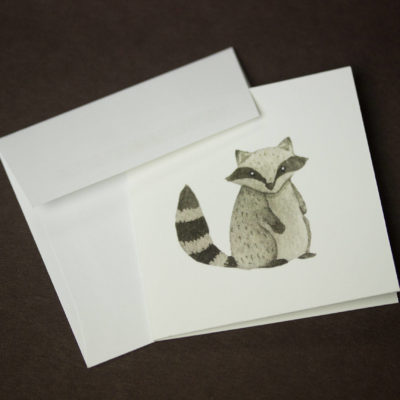 Racoon greeting card, Mini greeting cards, Greeting card set