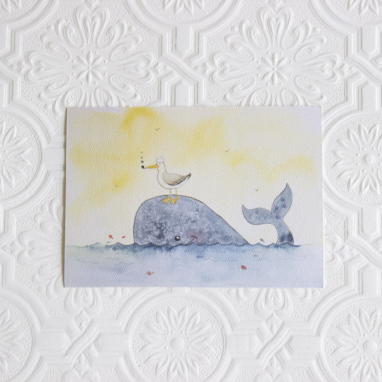 Whale Art Print Nautical Nursery Decor Wall