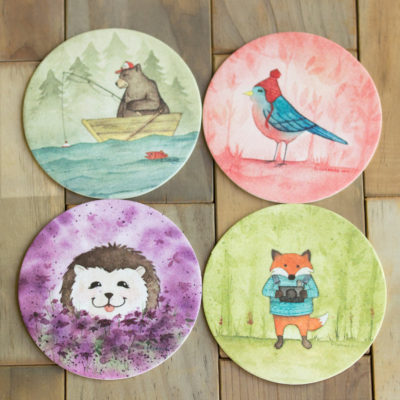 Woodland coasters set, Paper coasters, nursery decor, office decor, home decor